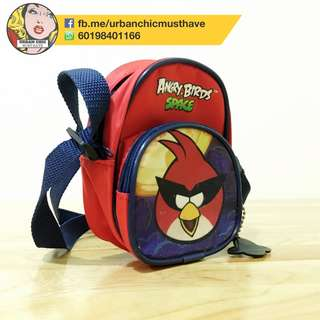 SPACE ANGRY BIRD BOY CHILD SMALL SLING CARRY BAG CASUAL OUTING RED BLUE COLLECTION