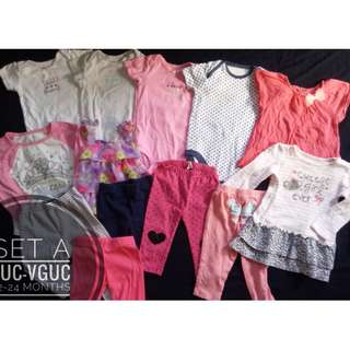 Set of baby girl preloved clothes onesies dress legging