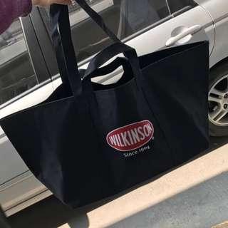 日單簡約超大容量黑色 wilkinson 單肩手提袋整理袋 玩具收納袋 購物袋