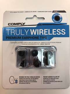 Comply foam tips. Truly wireless