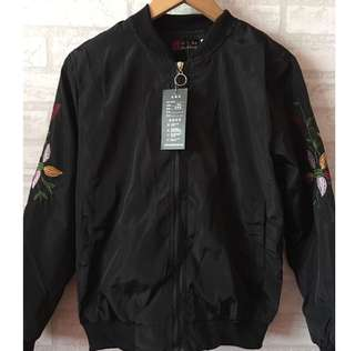 Black floral sleeve Bomber Jacket