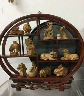 十二生肖吉祥木雕刻