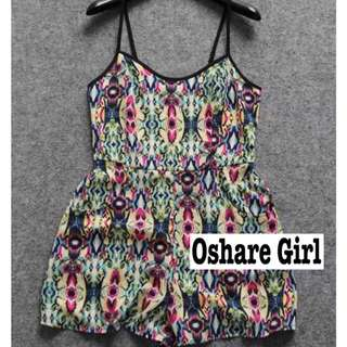 OshareGirl 06/18 歐美幾何圖騰連身短褲 summer free