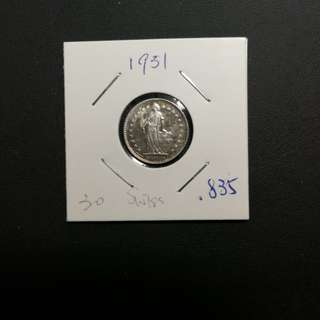瑞士海爾維83.5%銀幣