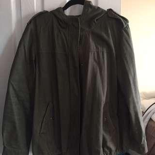 Forever 21 oversized army green light jacket