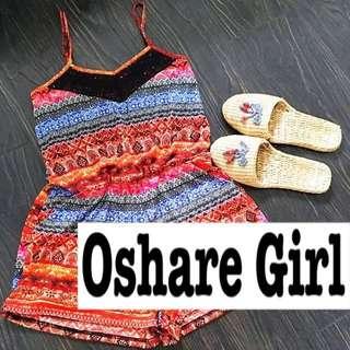 OshareGirl 07 美單幾何圖騰連身短褲 summer free