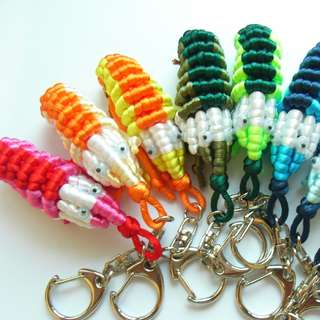 Cute Knotted Shrimp Keychain - Choose your color