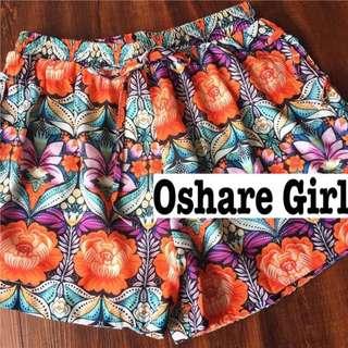 OshareGirl 07 英單萬花筒幾何圖騰設計綁帶造型短褲 summer free
