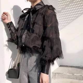 (More cols) Furrowed tier sheer pussybow tie blouse