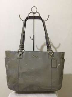 Coach Authentic Grey Patent Leather