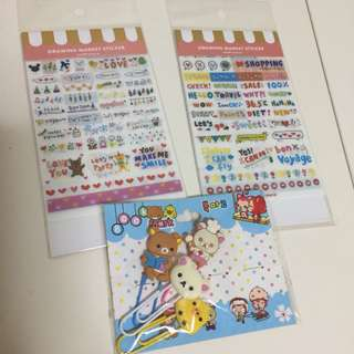 Rilakkuma paper clips & Stickers
