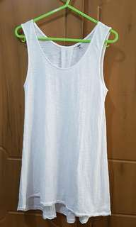 Uniqlo white semi-sheer long sleeveless tank