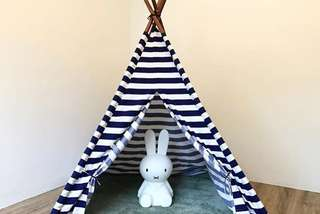 White and Blue Stripes Play Tent