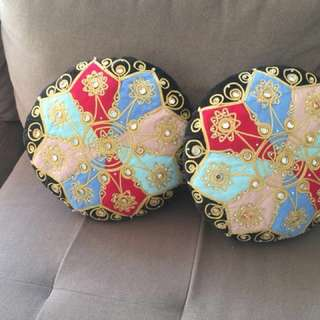 Cushion cover tapestry with mirror work