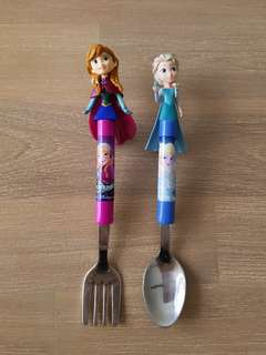 Elsa and anna utensil set fork and spoon