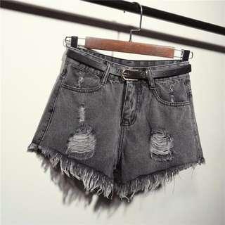 Dark Ash Grey High-Waisted Denim Shorts