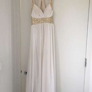 White Maxi Dress with Gold Sequin