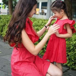 ☑️ INSTOCKS 3-7Y Girls Red Ruffles Dress G220D (Mother sizes available)