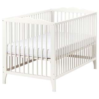 Ikea baby cot - Coffee shade. 60 X 120 cm with mattress