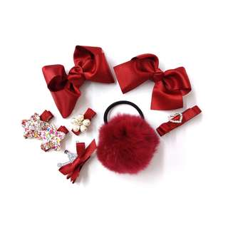 Blossom 28 Baby Hair Clip Set Red BHB008