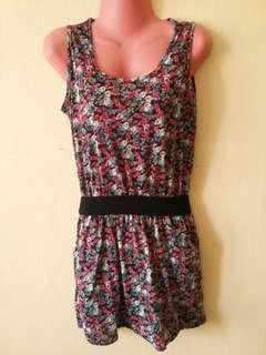 Floral short dress/long blouse