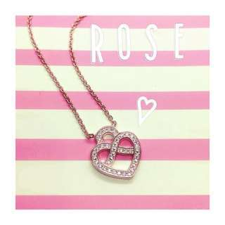 18k rose gold silver heart necklace with CZ