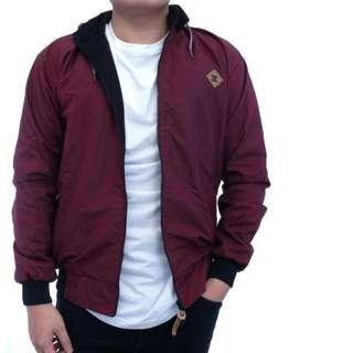 Supplier Kemeja Pria Jual Jaket dC Bolak Balik Warna Merah Maroon Hitan
