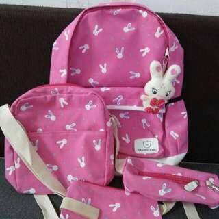 School Bag pink rabbit
