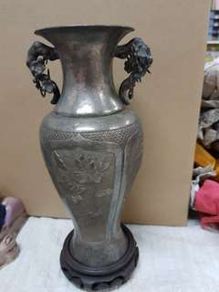 Chinese Silver Metal Vase