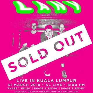 LANY SOLD OUT CONCERT TICKET