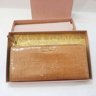 Miu Miu Authentic Wallet croc croco tan brown leather original box and paperbag paper bag