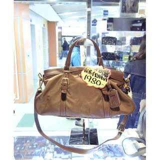 Prada Brown Nylon Shoulder Hand Bag 普拉達 啡色 尼龍 手挽袋 手袋 肩袋 袋