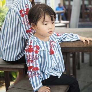 ☑️ INSTOCKS 3-15Y Girls Blue Stripes Embroidery Shirt G211D (Mother size available)