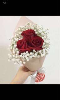 Rose Bouquet in Red Roses with White baby Breath Flash Sale