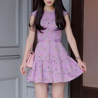 SC0099 Flora Printed Dress With Sash (S,M,L)(Buy 3 FREE Postage)