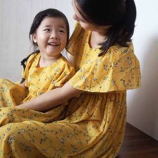 ☑️ INSTOCKS 3-15Y Girls Yellow Floral Dress G2101H (Mother size available)