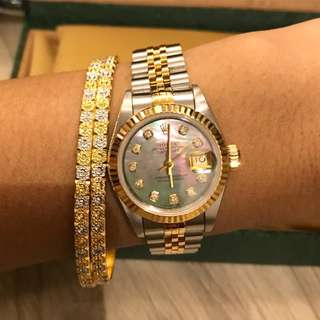 Authentic Rolex Ladies Date Just Black Mop Tahiti Two Tone Dial with Diamond 18k gold ss /