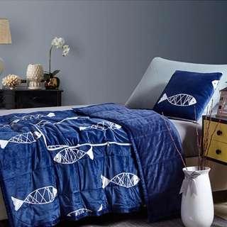 魚兒法蘭絨抱枕被