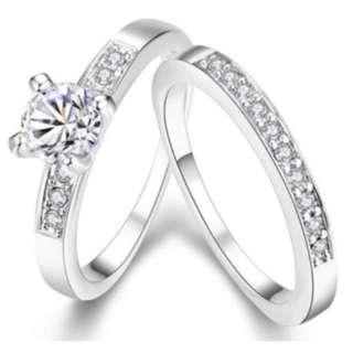 Women 2PCS Cubic Zirconia Ring