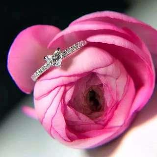 可愛心心18k白金心型鑽石戒指💍全新女朋友紀念日生日禮物
