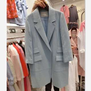 Korea blue jacket trench outerwear blazer for women