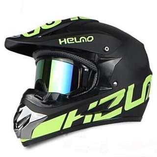 Matte Black wirh Green Designs Full Face Motorcycle Helmet Scrambler Motorcross Motocross Scrambler Off Road Dirt Bike