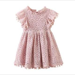 Baby lace dress new pink