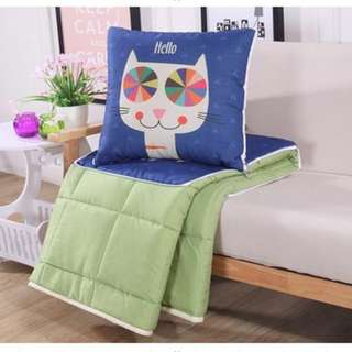 貓咪棉麻抱枕被