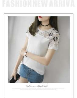 Plus Size Women Ladies Flower Lace White Top