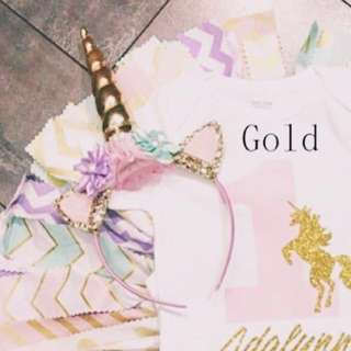 Gold Adult Unicorn Headband Instock