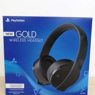 (Brand New) PlayStation New Gold Wireless Headset 7.1 Virtual Surround Sound for PS4
