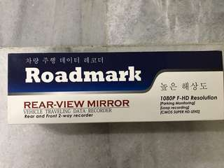 Road mark rear view mirror dash cam
