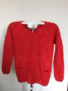 Red Knit Sweater With 2 Front Pockets - Stretchable