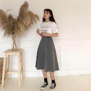 High waist lattice Retro Thin fashion Casual Korean Style skirt